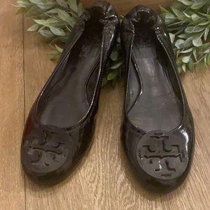 Tory Burch Black Patent Leather Minnie Ballet Flat